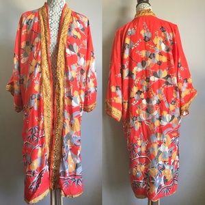 Vintage Kanebo silk Japanese kimono floral birds